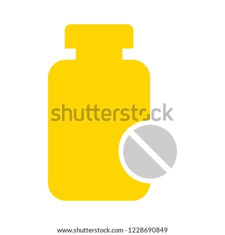 Medicine bottle and pills. Medicine icon. Vector illustration