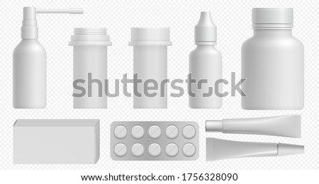 Medicine bottle. Pharmaceutical white packaging with medical plastic bottle, pill box and vitamin container mockup. Template for medicament and healthcare cosmetic package set on transparent back.