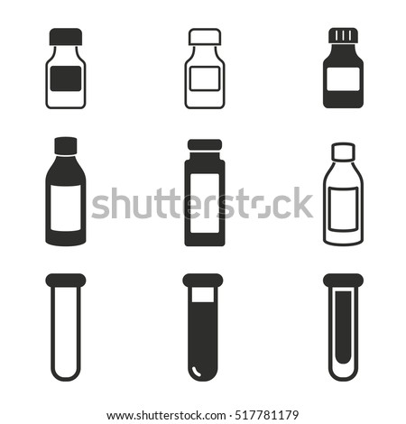 medicine bottle vector icons
