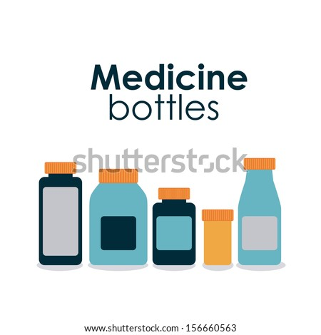 medicine bottles over white background vector illustration