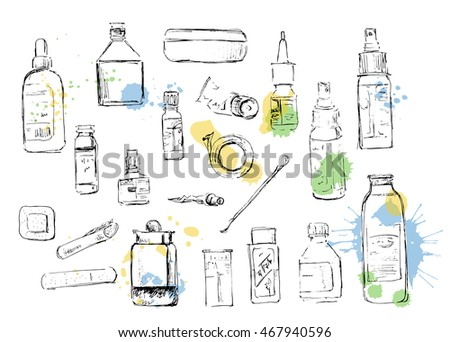 medicine bottles sketch from