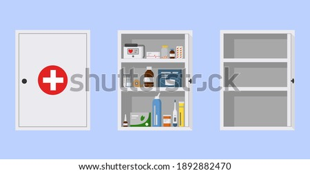 Medicine cabinet with open and closed door. Empty and full medical cupboard, flat vector illustration. White first aid kit on blue background Stock photo ©