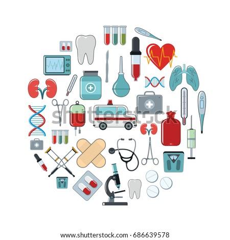 medicine cartoon icons set on