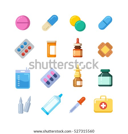 Medicine cartoon pill, drug, table, antibiotics, medication dose flat icons.