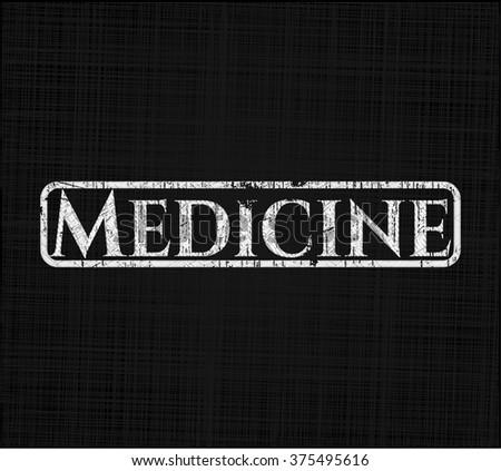 Medicine chalkboard emblem on black board