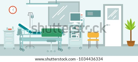 Medicine concept empty hospital reception hall in flat style. Modern hospital corridor interior with furniture and equipment. Vector illustration.