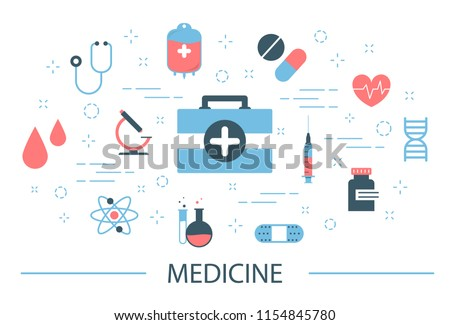 Medicine concept . Idea of treatment and healthcare. Diet, sport, relaxation and checkup. Set of medical icons. Isolated flat vector illustration