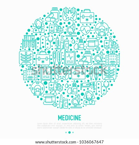 Medicine concept in circle with thin line icons: doctor, ambulance, stethoscope, microscope, thermometer, hospital, z-ray image, MRI scanner. Modern vector illustration for medical survey, report.