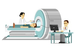 Medicine concept MRI scan and diagnostics in flat style isolated on white background. Young doctor man scanning patient with scanner machine in hospital. Consultation and medical diagnosis.