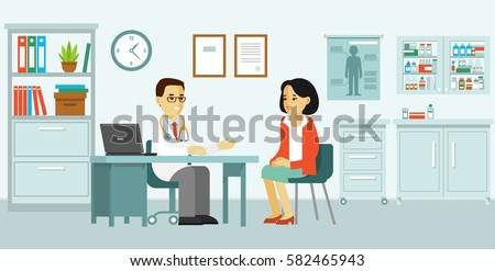 Medicine concept with doctor and patient in flat style. Practitioner doctor man and young woman patient in hospital medical office. Consultation and diagnosis #582465943