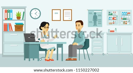 Medicine concept with doctor and patient in flat style. Practitioner doctor woman and young man patient in hospital medical office. Consultation and diagnosis. #1150227002