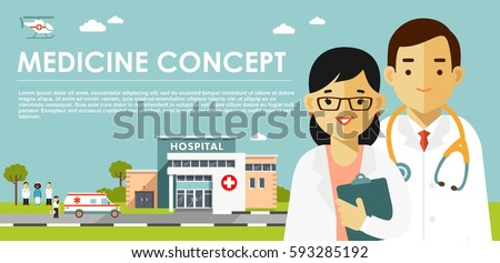 Medicine concept with doctors in flat style isolated on blue background. Practitioner young doctor man and woman, hospital building, ambulance car and helicopter. Medical staff