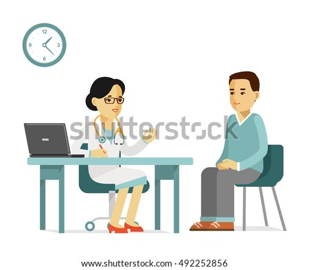 Medicine concept with practitioner doctor woman and young man patient in hospital in flat style isolated on white background. Consultation and medical diagnosis. #492252856