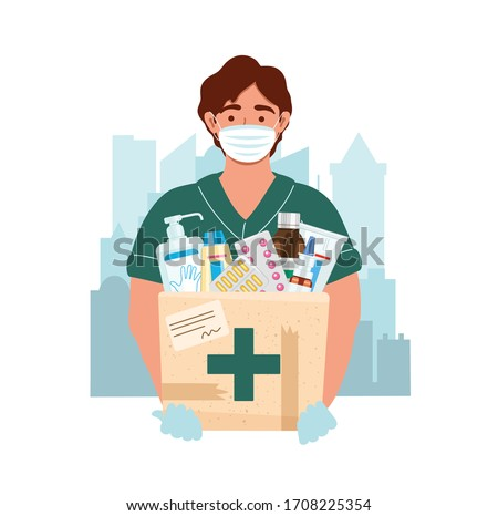 Medicine courier wearing mask and gloves with medical purchases during the prevention of coronovirus. Delivery man on the city background. Safety home and quarantine concept. Vector flat illustration