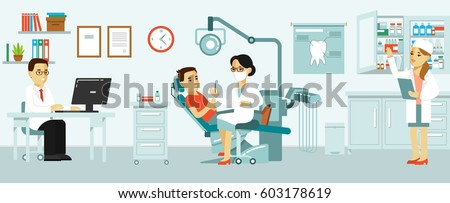 Medicine dental office concept in flat style. Hospital interior with workplace, equipment, instruments. Young doctor woman and patient man in dentist chair. Consultation, treatment and diagnosis.