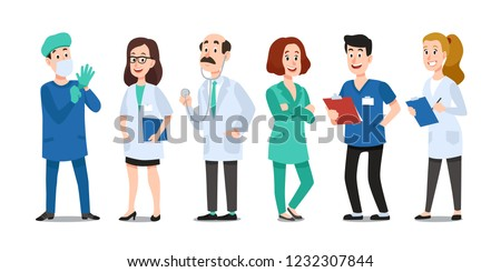 Medicine doctors. Medical physician, hospital nurse and doctor with stethoscope. Medic healthcare workers, professional doctor and pharmacist. Cartoon vector characters isolated icons set