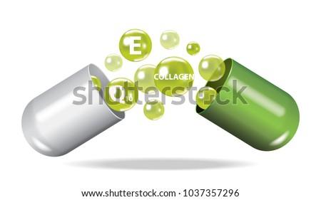 Medicine , drug , vitamin , open capsule vector illustration