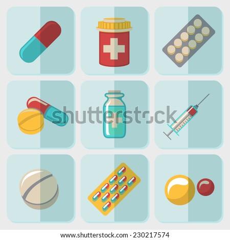 medicine  drugs  flat icons set