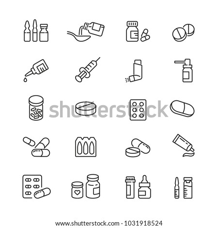 Medicine drugs pills: thin vector icon set, black and white kit