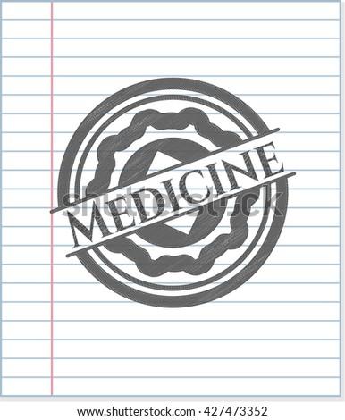 Medicine emblem draw with pencil effect