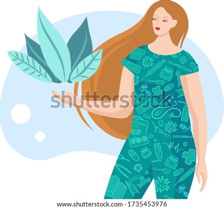 Medicine girl, doctor, clinic personal, medicine stuff. Vector illustration. Healthy team. Plants. Medical card.