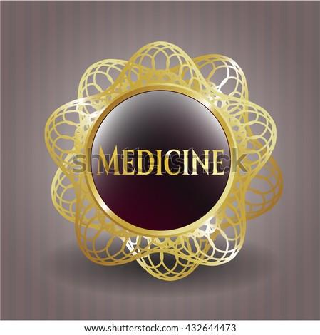 Medicine gold badge or emblem