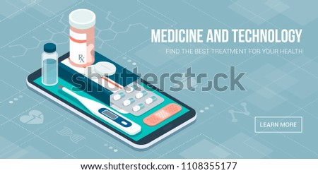 Medicine, healthcare and therapy app: prescription drugs, first aid and medical diagnosis equipment on a smartphone with icons #1108355177