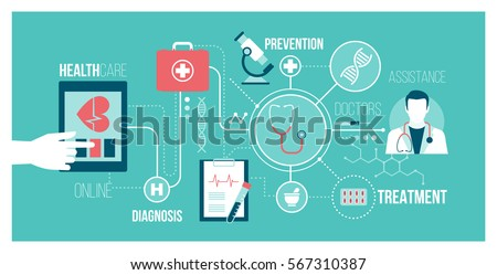 Medicine, healthcare, technology and augmented reality concept banner: user connecting with a digital tablet and receiving an online medical consultation
