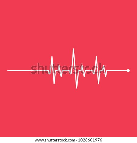 Medicine Heartbeat Red Bacground Flat Lines Cardiogram Modern