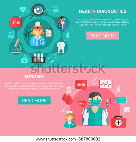 Medicine horizontal flat banners with health diagnostics and surgery on green and pink backgrounds isolated vector illustration