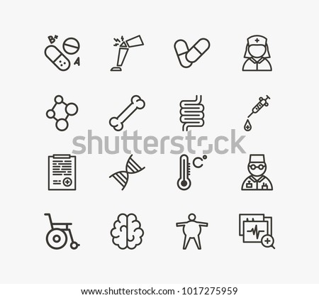 Medicine icon set and brain with nurse, vitamin and temperature. Overweight related medicine icon vector items for web UI logo design.