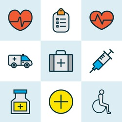 Medicine icons colored line set with medicine chest, vaccine, heartbeat and other medical case elements. Isolated vector illustration medicine icons.