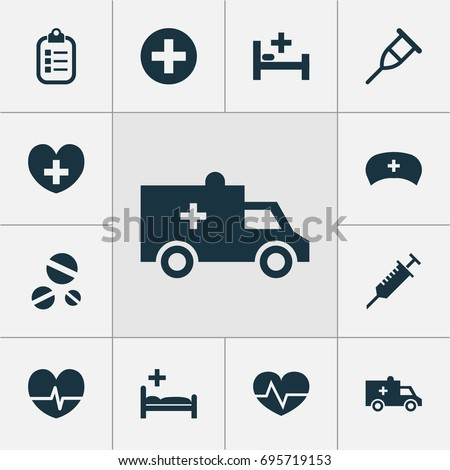 Medicine Icons Set. Collection Of Bus, Rhythm, Mark And Other Medicine Icons Elements. Also Includes Symbols Such As Stand, Cure, Record.