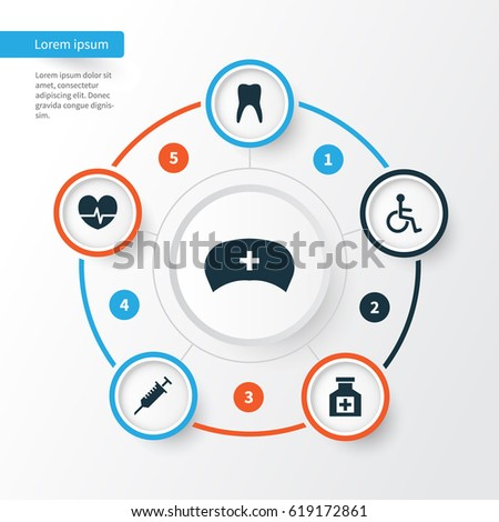 Medicine Icons Set. Collection Of Disabled, Painkiller, Cap And Other Elements. Also Includes Symbols Such As Reliever, Healthy, Pulse.