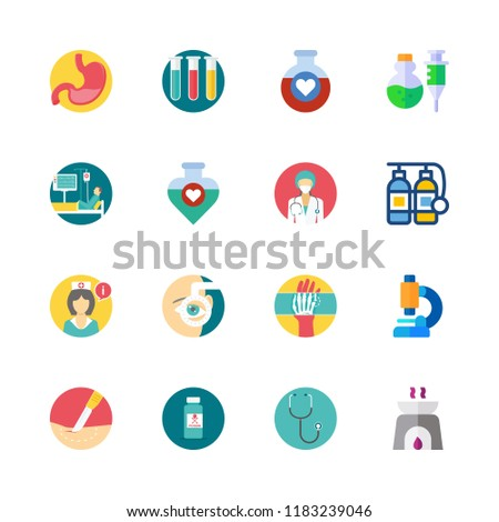medicine icons set. indoors, glove, 3d and murder graphic works