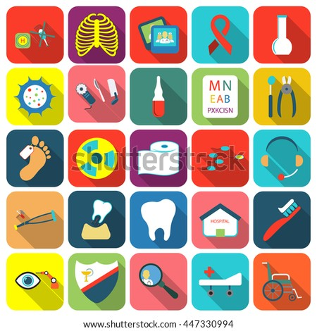 Medicine icons set. Medical, Health collection icon in flat design. Medicine equipment symbol. Foto stock ©