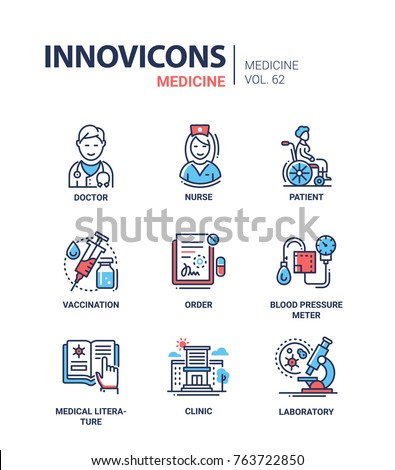 Medicine - line design icons set