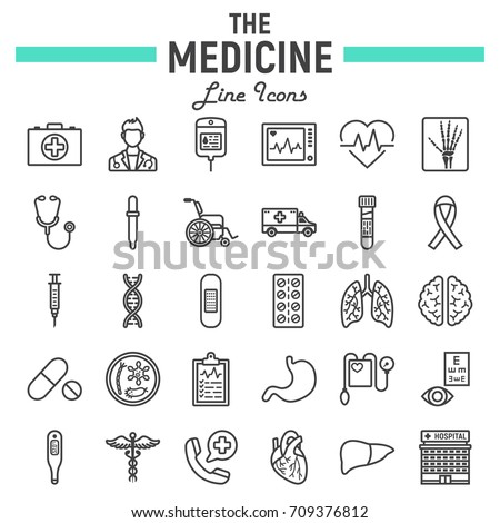 Medicine line icon set, medical symbols collection, healthcare vector sketches, logo illustrations, anatomy signs linear pictograms package isolated on white background, eps 10.