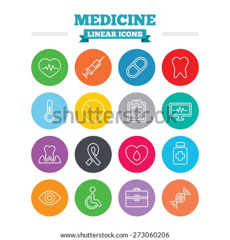 medicine linear icons set