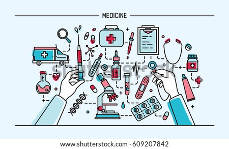 medicine lineart banner. colorful vector illustration