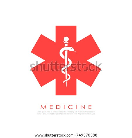 Medicine logo with snake vector illustration isolated on white background