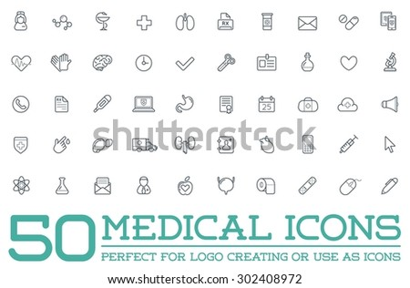 Medicine Medical Health Vector Symbols Icons Can Be Used as Logotype Element or Icon, Illustration Ready for Print or Plotter Cut or Using as Logotype with High Quality