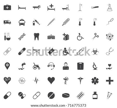 medicine, medical set black icon on the white background Flat vector illustration.