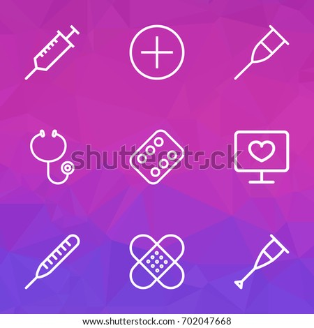 medicine outline icons set