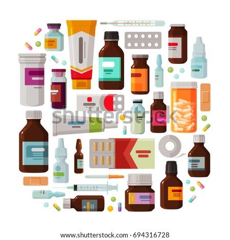 Medicine, pharmacy concept. Drug, medication set of icons. Vector illustration