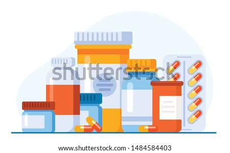 Medicine, pharmacy concept. Drug, medication set of icons. Vector illustration. Website landing page graphic