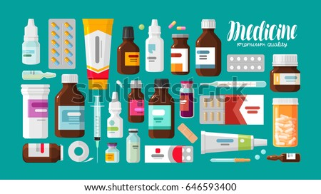 Shutterstock Medicine, pharmacy, hospital set of drugs with labels. Medication, pharmaceutics concept. Vector illustration