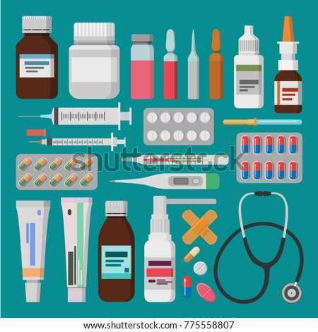 Medicine, pharmacy, hospital set of drugs with labels. Medicine pills, capsules, bottles, ointments and tablets.