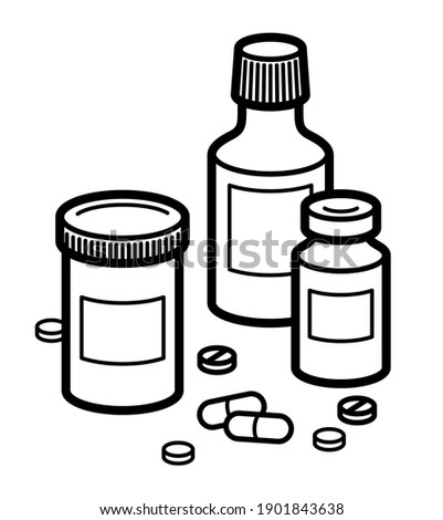 Medicine pharmacy theme medical bottles 3d vector illustration isolated, medicaments and drugs, health care meds cartoon, vitamins or antibiotics, simple linear design. Photo stock ©