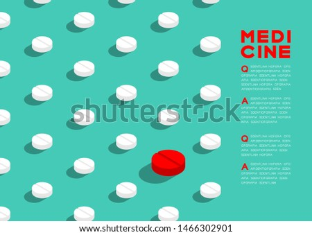 Medicine pill 3D isometric pattern, Danger expired concept poster and banner horizontal design illustration isolated on green background with copy space, vector eps 10